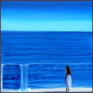 L'instant précis à 18h45 (revenant des hautes falaises celles situées au fond à droite de ce tableau) je surpris Marina rattrapée par son propre sujet 80 cm x 80 cm 2014