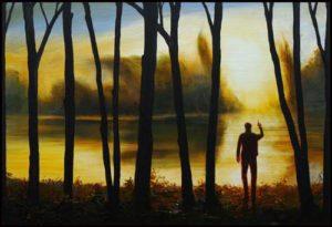 L'instant précis où Lyona m'avait surpris un soir peignant les reflets du soleil 73 cm x 50 cm 2014
