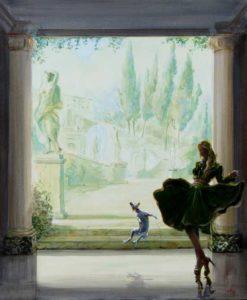 Le bonheur de Biblos, le petit chien de Joy, lorsqu'elle s'amusait à faire voler sa robe  55 cm x 46 cm 2014