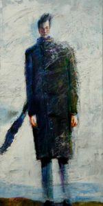 Marcus attendant Marie malgré le froid et la pluie un après midi vers 16h40 80 cm x 40 cm 2014
