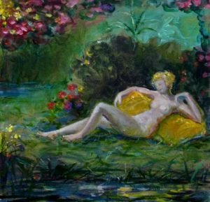 L'instant où peignant Amandine un soir dans son jardin elle me dit: Vous savez François n'insistez pas sur les détails 40 cm x 40 cm 2014