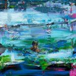 Raphaël nageant pendant la fête du port vers 18h45 40 cm x 40 cm 2014