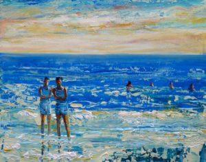 L'instant précis où Greg me dit : Surtout ne mets pas cette photo sur Facebook ma mère ne sait pas que je suis à la plage ! 41 cm x 33 cm 2014