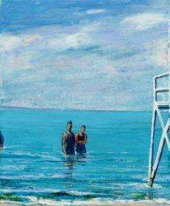 L'instant précis où bob et Léo m'ont dit : Allez François, lâche ta peinture et viens nous rejoindre, elle est vraiment bonne !  46 cm x 33 cm 2014