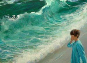 L'instant précis où Octave me cria : Mais arrête de peindre, Ulysse s'est fait emporter par une vague, il faut le sauver ! 130 cm x  89 cm 2014