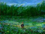 Guillaume cueillant des fleurs pour Louise par vent frais 35 cm x 27 cm 2014