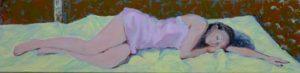 L'instant précis où je décidais de ne pas réveiller Lison, il y a  dans les songes des paysages qui se dessinent 80 cm x 20 cm 2014