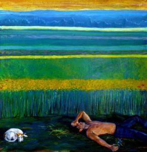 L'instant précis où Augustin en attendant Jeanne s'était endormi 45 cm x 45 cm 2014