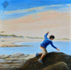 L'instant précis où je dis à Eve: Regarde Octave prend la même position que le jeune garçon dans le tableau de Goya 'Le cerf-volant' 30 cm x 30 cm 2014