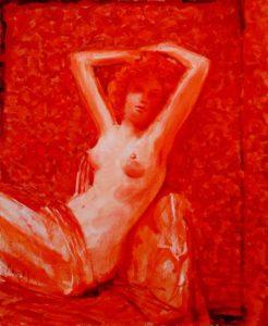 L'instant précis où Sandra me dit: Appelez le 'rouge désir', c'est le nom de mon prochain roman 61 cm x 50 cm 2014