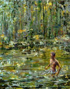 Un soir vers 19h lorsque nageant avec John il me dit Tu vois la peinture devrait être un peu comme ces moments là 41 cm x 33 cm 2014
