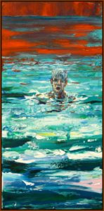 L'instant précis où Damien me dit: C'est génial quand je plonge avec toi j'ai l'impression de plonger dans ta peinture 60 cm x 30 cm 2014