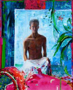 L'instant précis où Ubaldo me dit: Tu devrais venir peindre sous l'eau, il y a des reflets supra réalistes 81 cm x 65 cm 2014