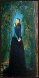 L'instant précis où peignant le portrait de Julie  elle me dit: j'espère que vous serez à la hauteur du décor peint derrière moi car c'est mon trisaïeul qui l'a réalisé 60 cm x 30 cm 2014