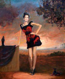 L'instant précis où Lola me dit: Ne vous méprenez pas, surtout  représentez que Titan, car je n'aime pas me voir en peinture; ne tardez pas nous allons être en retard au vernissage de l'exposition des peintures espagnoles 55 cm x 46 cm 2014