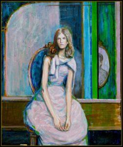 L'instant précis où Léopoldina me dit: Ne me faites pas un portrait à la  Matisse  car ce n'est pas un artiste que j'affectionne beaucoup 55 cm x 46 cm 2014