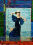 L'instant précis où Léopoldine se préparant devant un miroir du Grand Hôtel à Cabourg se dit: Elle est sympa la robe de la tante Alice mais elle est un peu comme la peinture de François 130 cm x 97 cm 2014