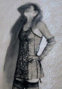 Murielle Étude rapide au fusain et craie blanche sur carton 50cm x 65cm