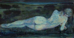 La nuit où je te parlais des couleurs de mes tableaux Encre et huile sur carton 42cm x 22cm
