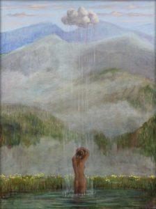 Quand Irène sortit de l'eau, elle reçut pour se rincer la pluie d'un petit nuage , le même nuage qui se trouvait dans la fresque de la chapelle San Lorenzo située dans la vallée, ce fut un véritable miracle pour moi. 80cm x 60cm 2018