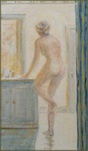 Depuis mon lit, la toilette tremblante, comme un Bonnard immatériel ; Maryam, une lumière dans la lumière, peinture dans la peinture, j'avais cette joie à ne pas renoncer aux images  46cm x 27cm 2018