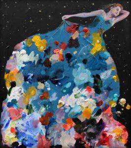 Nous avions dansé toute la nuit et ta robe aux mille couleurs nous emportait dans un champ d'étoiles. 45cm x 50cm 2018