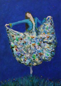 C'était notre première nuit sous les étoiles, ta robe comme une palette offrait les couleurs de mes futurs tableaux. Ah ! Que m'offrais-tu là d'insaisissable ma belle amoureuse. (Deuxième version)-70cm x 50cm-2018
