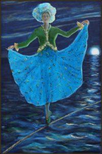 Tu dansais sur une corde avec l'agilité d'un papillon, dans cette nuit bleue j'étais tel Ulysse à son mat.-60cm x 40cm -2018