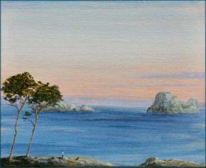 Petit, j'inventais des îles, Ulysse et des sirènes, même Fido y croyait aussi. -27cm x 22cm-2018
