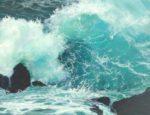 Tu m'avais demandé avec ton sourire coquin de te peindre une étude de vague fougueuse, un peu menthe à l'eau quand même !-35cm x 27cm-2018
