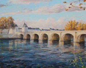 Les hommes construisent trop de murs et pas assez de ponts.Ce fut à l'instant où Anne embrassa Louis qu'il y eut une improbable éclaircie sur le pont Henri IV à Châtellerault. - 100cm x 81cm - 2018