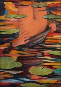 Sur l'étang apparut dans l'étendue d'un reflet, Iris, comme éclairée par un dernier rayon chaud d'octobre. - 92cm x 73cm - 2018