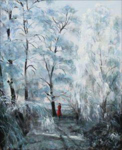 """Vous m'attendiez toute de rouge de joie au lieu-dit: """" le saut du loup"""", les arbres ployaient sous leurs habits de cristal, seul le rouge-gorge perçait le givre de son chant mélancolique. - 41cmx 33cm - 2019"""