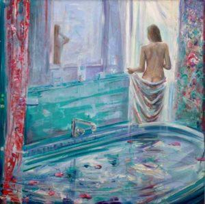 Tu savais bien qu'après ton bain, j'irai de mes lèvres cueillir les quelques pétales de rose posés sur ta peau comme des papillons. - 40cm x 40cm - 2019