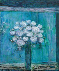 C'était une nuit de pleine lune, là où les blancs sont bleus, la tourterelle avait délicatement déposé ta bague prés du bouquet. - 65cm x 54cm - 2019