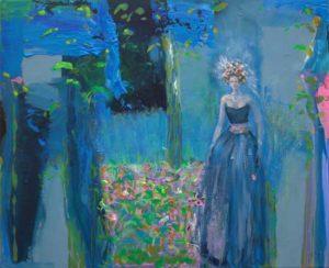 J'avais le cœur briguant, même dans ce jardin bleu. Mes lèvres tremblantes de toi, j'ai su dans ce baiser de feu que tu n'existais pas . - 61cm x 50cm - 2019