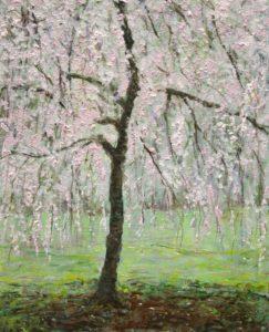 L'arbre de joie dépense sans compter ses fleurs et ses promesses comme un amoureux. Bientôt les fruits sur tes seins à picorer comme un oiseau heureux. - 41cm x 33cm - 2019