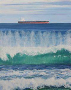 Au nord de Port-Louis, je regardais les cargos croiser au large de pointe aux piments; ils traversaient le paysage marin comme suspendus à la ligne d'horizon, se déplaçant à la vitesse de gastéropodes. Les vagues, elles, semblant vouloir s'imiter comme des sœurs jumelles, venaient mourir d'une frénésie amoureuse sur les sables de coraux antiques. - 92cm x 73cm - 2019