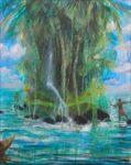 De la verdure tissée d'ombre et de lumière, jaillit l'eau cyclique, comme à l'origine. - 92cm x 73cm - 2019