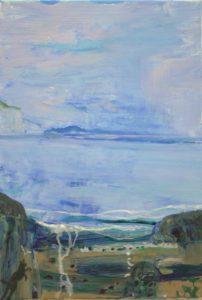 Les matins où les gris s'emmêlaient les pinceaux, Socrate tentait sans courage de croquer une mouette. Les nobles rochers usés par la lutte, semblaient heureux d'une mer calme comme un lac. - 35 cm x 24cm - 2019
