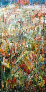 Après la pluie, tapissant les plis du temps, filtrant le bleu fuyant du ciel, j'effeuillais mes visions de millions de fleurs. Élise enlaçait lentement Gabriel. - 100cm x 50cm - 2019