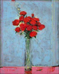 Comme ces fleurs ton cœur ne dort jamais la peinture est notre champ un chant d'amour tes baisers rouges - 41cm x 33cm - 2019