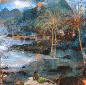 Le soir, les vagues rythmaient la lecture des poèmes de Thaly sous la voix douce de Matea : « Et c'est pourquoi toujours mes rêves reviendront, vers ses plages en feu ceintes de coquillages, vers les arbres heureux qui parfument ses monts, dans le balancement des fleurs et des feuillages. » - 50cm x 50cm - 2019