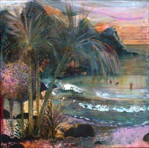 Au loin les femmes se baignaient et l'océan caressant portait par l'alizé leurs rires juvéniles. Parfois les feuilles des palmiers sifflaient leur candeur comme de jeunes hommes virils . - 60cm x 60cm - 2019