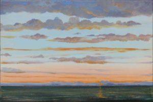 Puis au dessus de l'infini, les paysages de nuages comme un empire et l'astre couchant que j'espère voir demain. - 33cm x 24cm - 2019