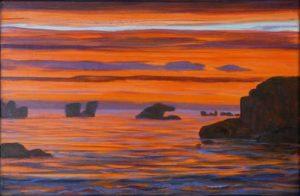 Sur l'océan aux lumières africaines, les roches sculpturales semblaient flotter comme de vieux pachydermes endormis. - 22cm x 33cm - 2019