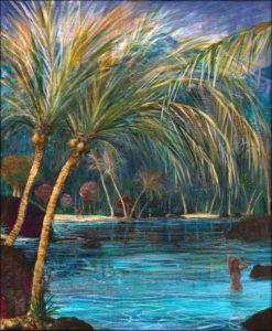 Aux mille et un sons de la forêt tropicale s'ajoutait la musique plaintive de la mer sur les rochers, Teani relevait délicatement ses cheveux d'ébène révélant son corps comme un astre immortel - 55cm x 46cm - 2019
