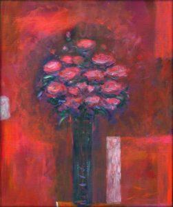 Il y avait toujours entre nous, un bouquet, contre nous sa vibration, comme la veilleuse rouge dans l'oratoire - 55cm x 46cm - 2019