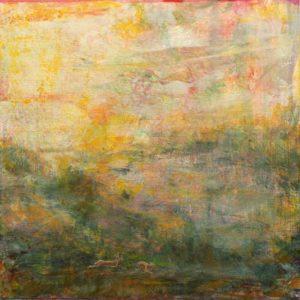 Au soleil couchant, le long du fleuve royal, deux lièvres filaient dans la chaleur estivale. Tout vibrait dans leur course pendant ce bref passage. - 50cm x 50cm - 2019
