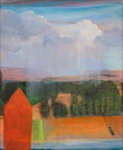 """Avec sa teinte """"naranja de tina"""", l'atelier faisait signe dans le paysage, dans le ciel, les nuages confortaient leur empire. - 61cm x 50cm - 2019"""